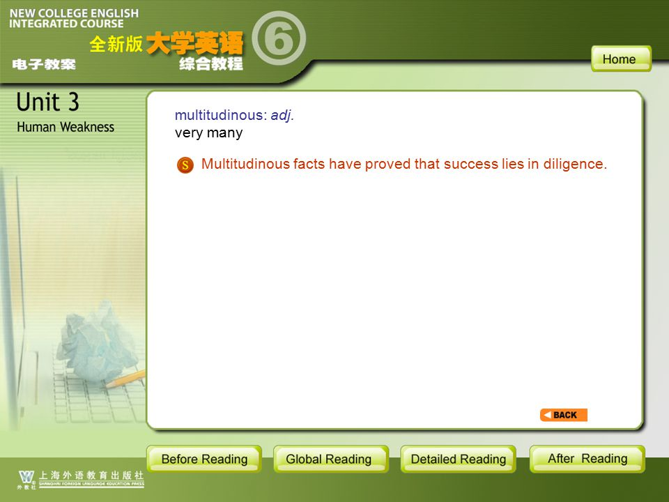 TEXT-W-multitudinous multitudinous: adj. very many Multitudinous facts have proved that success lies in diligence.