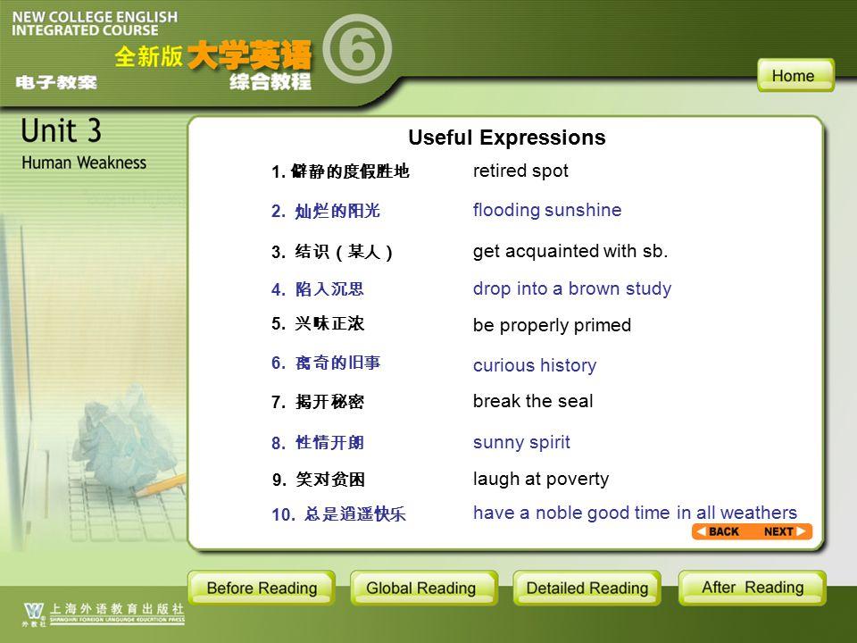 AR-Useful Expressions1.1 1.僻静的度假胜地 2. 灿烂的阳光 3. 结识(某人) 4.