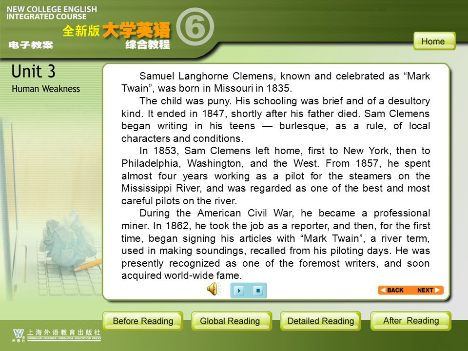BR1- backgroud1.1.2 Samuel Langhorne Clemens, known and celebrated as Mark Twain , was born in Missouri in 1835.