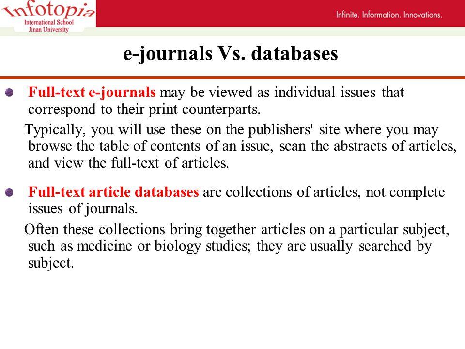 e-journals Vs.