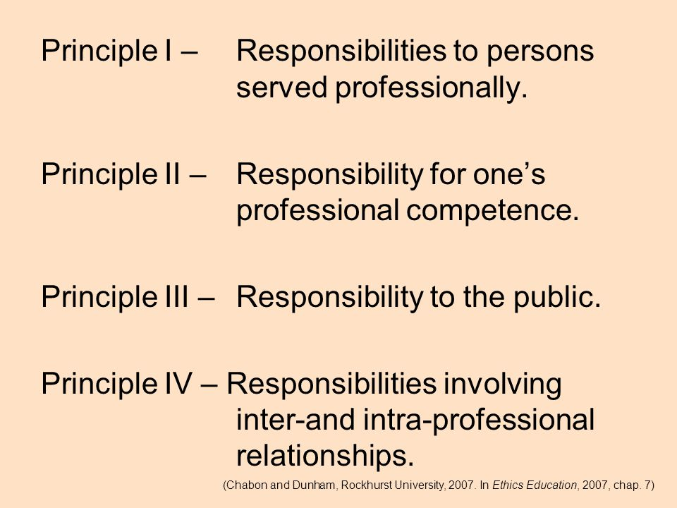 Principle I – Responsibilities to persons served professionally.