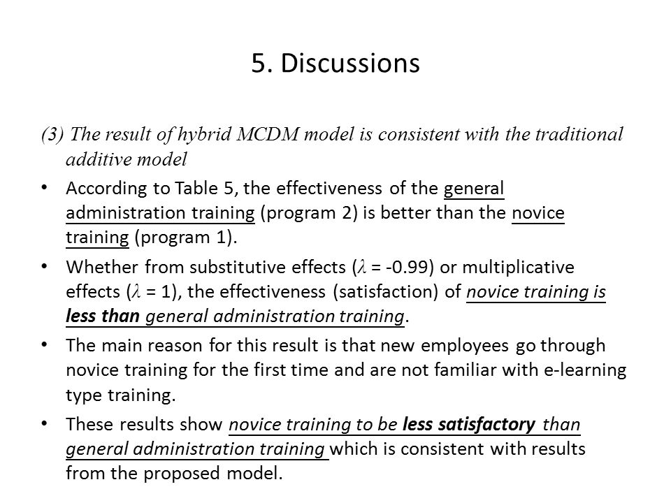 5. Discussions (3) The result of hybrid MCDM model is consistent with the traditional additive model According to Table 5, the effectiveness of the ge