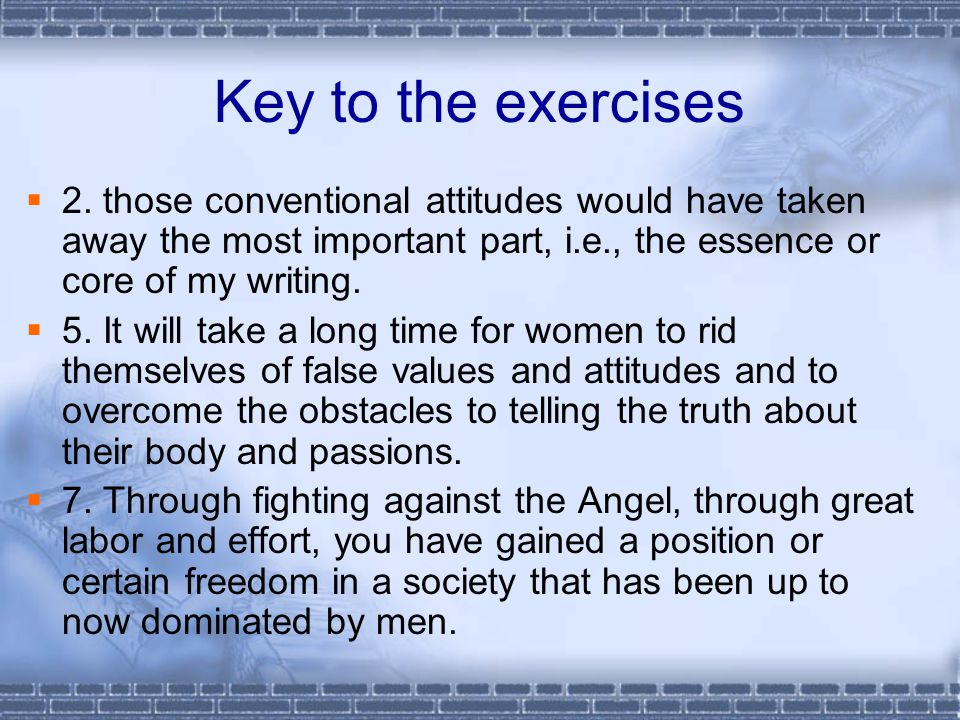 Key to the exercises  2.