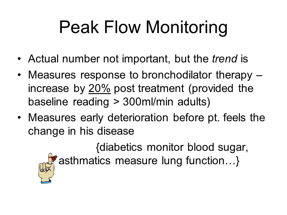 Peak Flow Monitoring Peak Expiratory Flow (PEF) – the greatest flow velocity which can be generated during a forced expiration starting with fully inflated lungs Simple, quantitative, reproducible measure of airway obstruction Meters are cheap, lightweight and portable Repeated measures highly reproducible with each individual patient, if the same meter is used