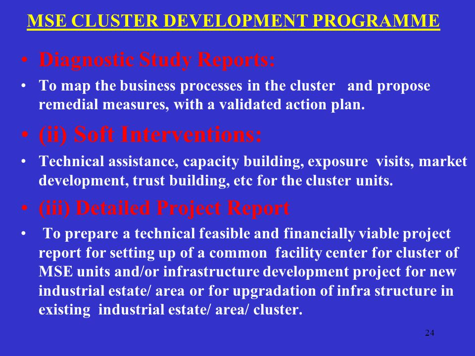 MSE CLUSTER DEVELOPMENT PROGRAMME Diagnostic Study Reports: To map the business processes in the cluster and propose remedial measures, with a validated action plan.