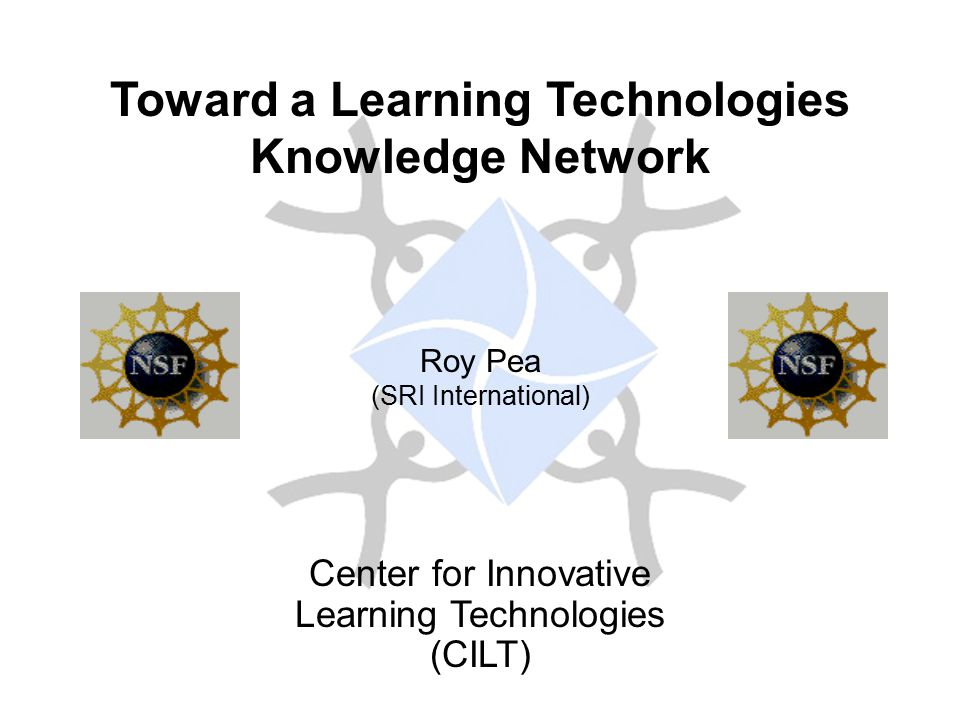 Toward a Learning Technologies Knowledge Network Roy Pea (SRI International) Center for Innovative Learning Technologies (CILT)