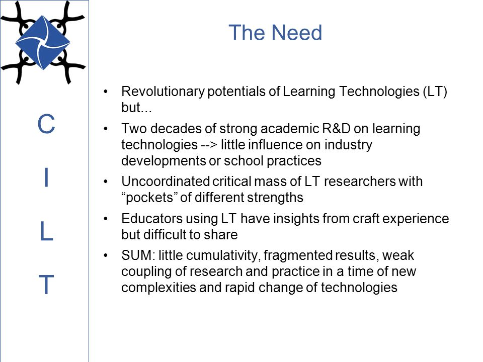 C L I T Community Tools Leaders: –Jeremy Roschelle and Roy Pea (SRI) –Postdoc: Jim Gray Address tools and processes, both technical and social, that can support the networked collaboration of teachers, students, and other educational stakeholders –Collaborative cognitive technologies –Knowledge networking tools and activities –Scaffolding frameworks that guide student thinking and learning activities