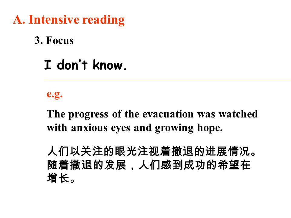 3. Focus e.g. The progress of the evacuation was watched with anxious eyes and growing hope. A. Intensive reading I don't know. 人们以关注的眼光注视着撤退的进展情况。 随着
