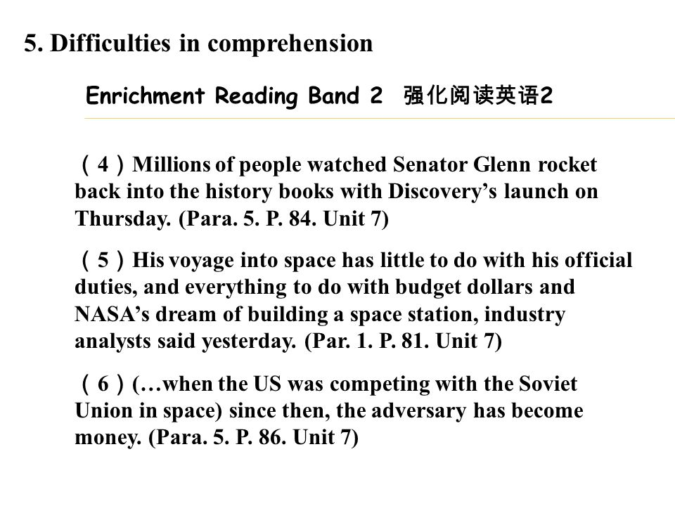 Enrichment Reading Band 2 强化阅读英语 2 ( 4 ) Millions of people watched Senator Glenn rocket back into the history books with Discovery's launch on Thursd