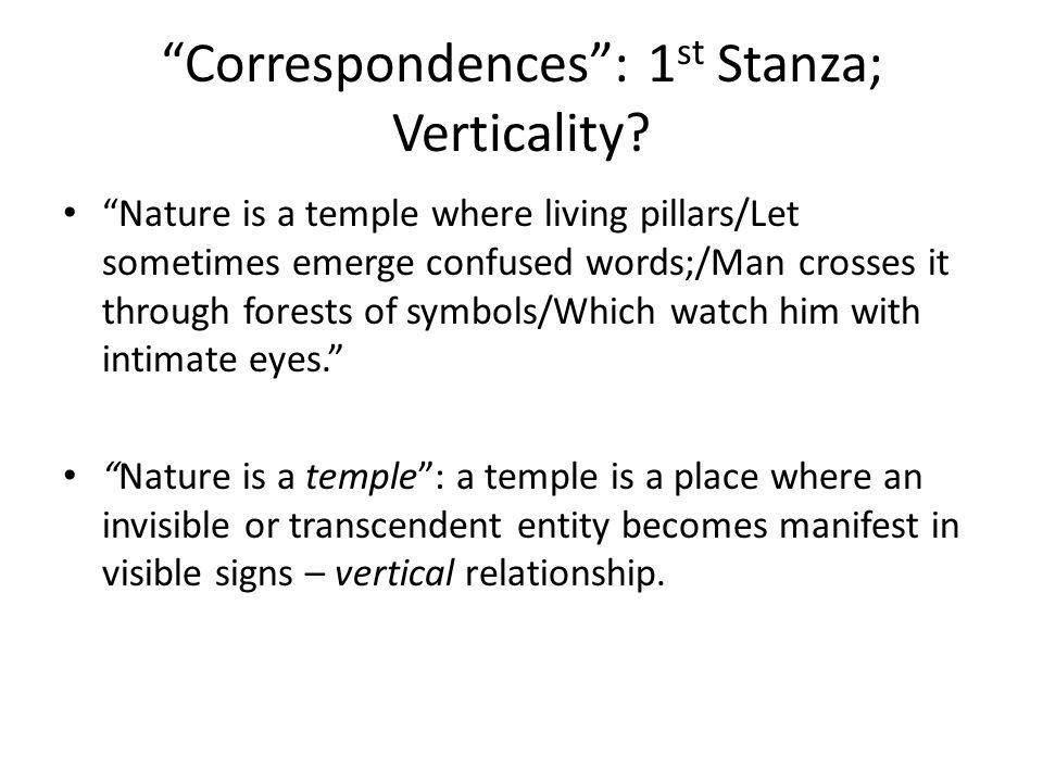 Correspondences : 1 st Stanza; Verticality.