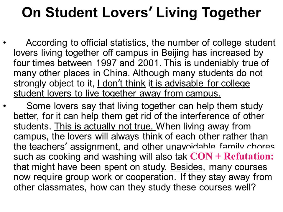 On Student Lovers ' Living Together According to official statistics, the number of college student lovers living together off campus in Beijing has increased by four times between 1997 and 2001.