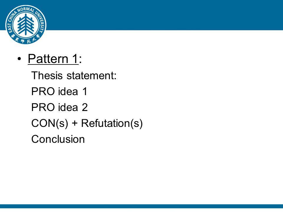 Pattern 1: Thesis statement: PRO idea 1 PRO idea 2 CON(s) + Refutation(s) Conclusion