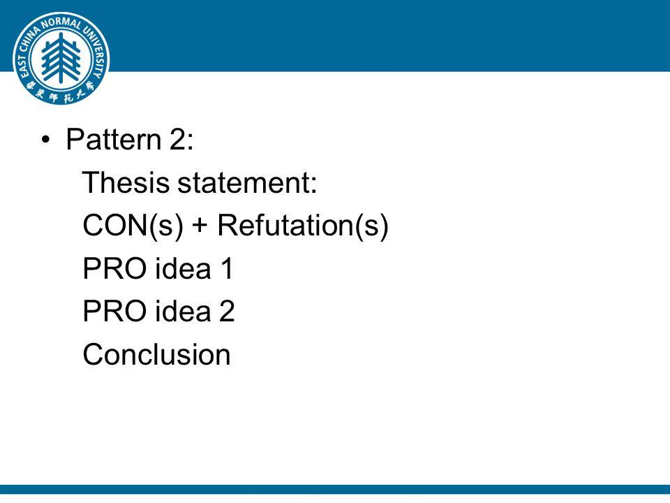 Pattern 2: Thesis statement: CON(s) + Refutation(s) PRO idea 1 PRO idea 2 Conclusion