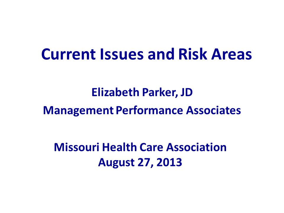 Current Issues and Risk Areas Elizabeth Parker, JD Management Performance Associates Missouri Health Care Association August 27, 2013