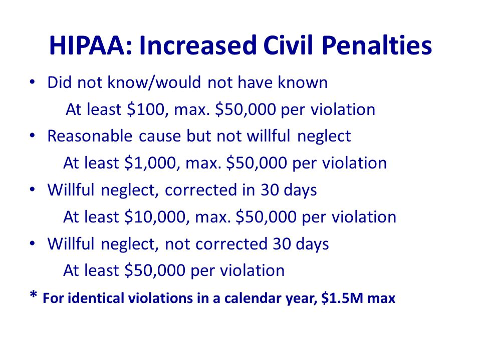 HIPAA: Increased Civil Penalties Did not know/would not have known At least $100, max. $50,000 per violation Reasonable cause but not willful neglect