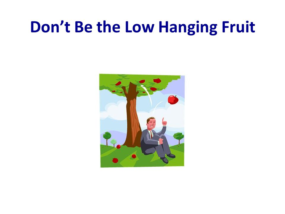 Don't Be the Low Hanging Fruit