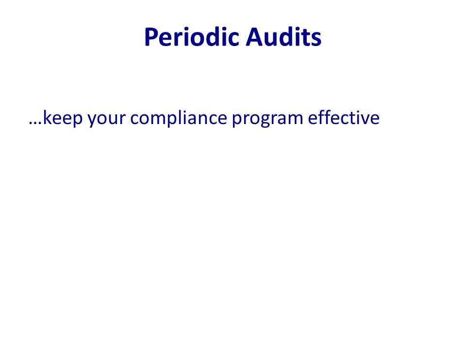 Periodic Audits …keep your compliance program effective
