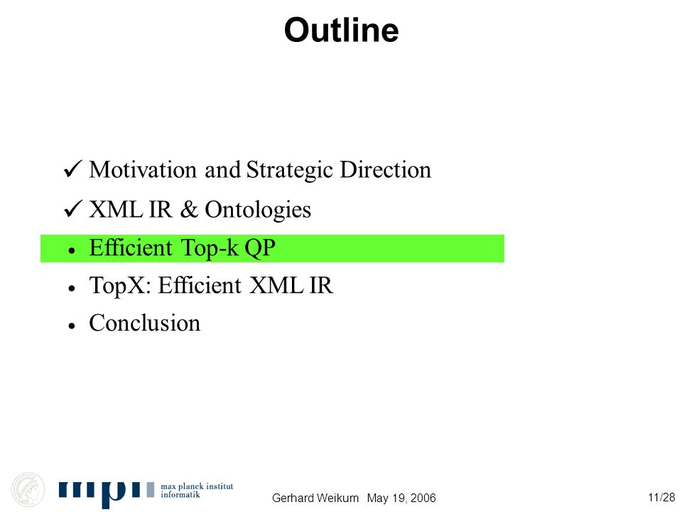 Gerhard Weikum May 19, 2006 11/28 Outline Motivation and Strategic Direction XML IR & Ontologies Efficient Top-k QP Conclusion TopX: Efficient XML IR