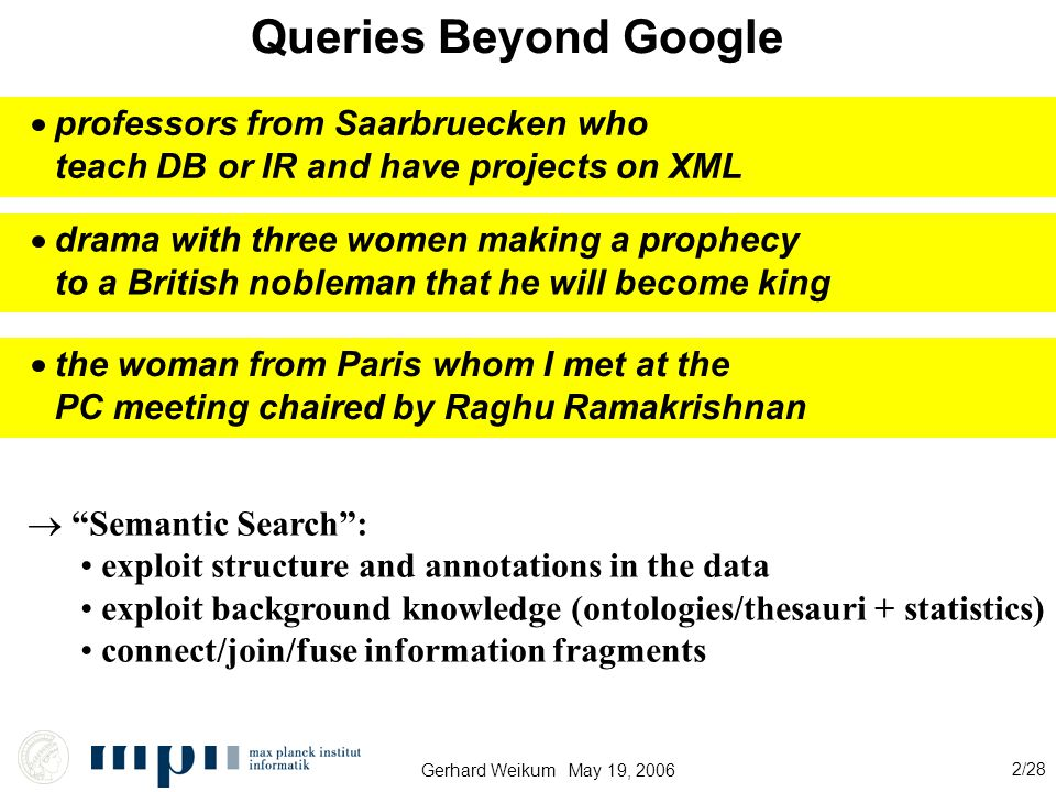 Gerhard Weikum May 19, 2006 2/28 Queries Beyond Google professors from Saarbruecken who teach DB or IR and have projects on XML drama with three women making a prophecy to a British nobleman that he will become king the woman from Paris whom I met at the PC meeting chaired by Raghu Ramakrishnan  Semantic Search : exploit structure and annotations in the data exploit background knowledge (ontologies/thesauri + statistics) connect/join/fuse information fragments