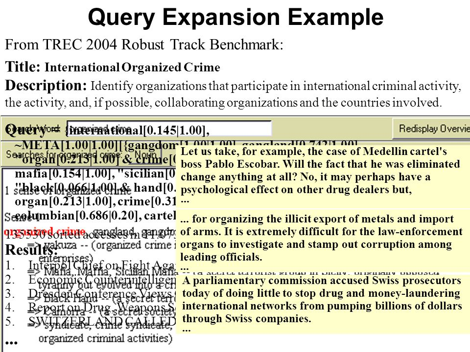 Gerhard Weikum May 19, 2006 31/28 Query Expansion Example Title: International Organized Crime Description: Identify organizations that participate in international criminal activity, the activity, and, if possible, collaborating organizations and the countries involved.