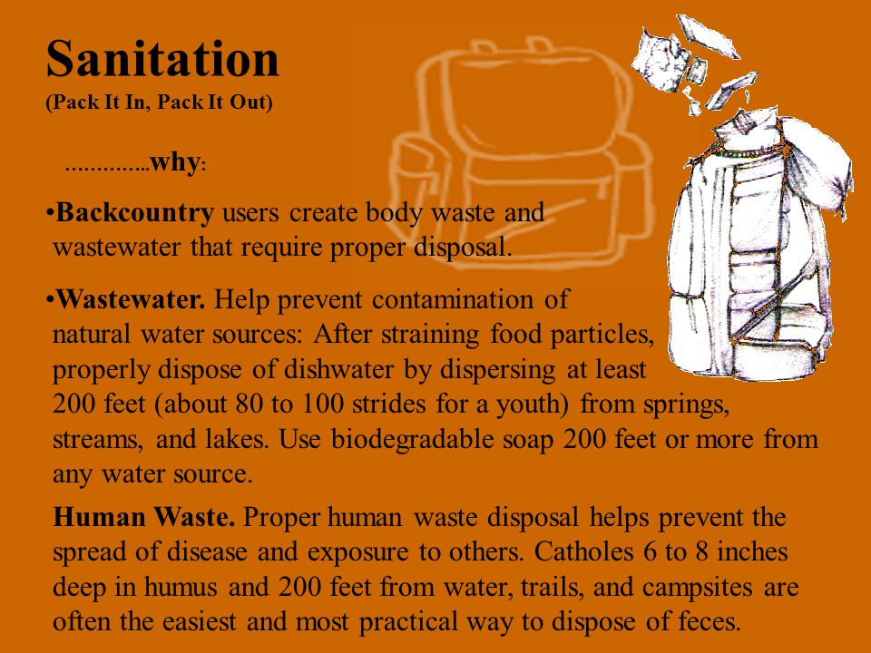 3a. Dispose of Waste Properly (Pack It In, Pack It Out) Strain wastewater and pack out food particles and uneaten food. Carry wash water at least 200