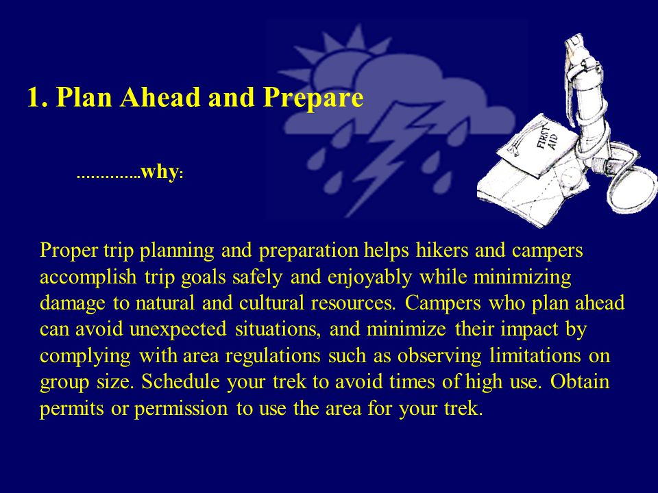 1. Plan Ahead and Prepare 2. Travel and Camp on Durable Surfaces 3.