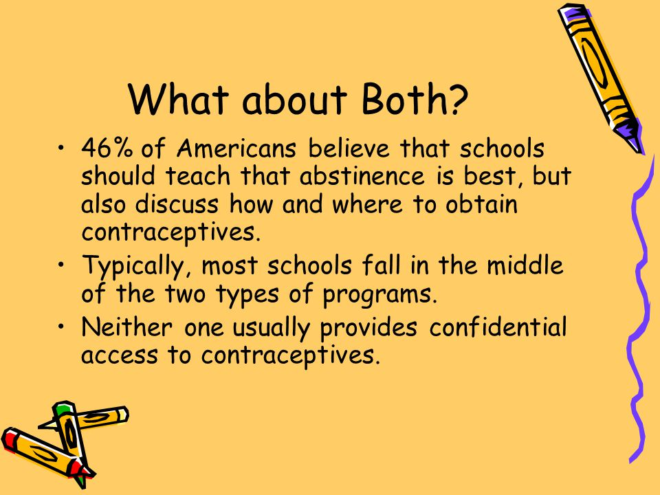 What about Both? 46% of Americans believe that schools should teach that abstinence is best, but also discuss how and where to obtain contraceptives.