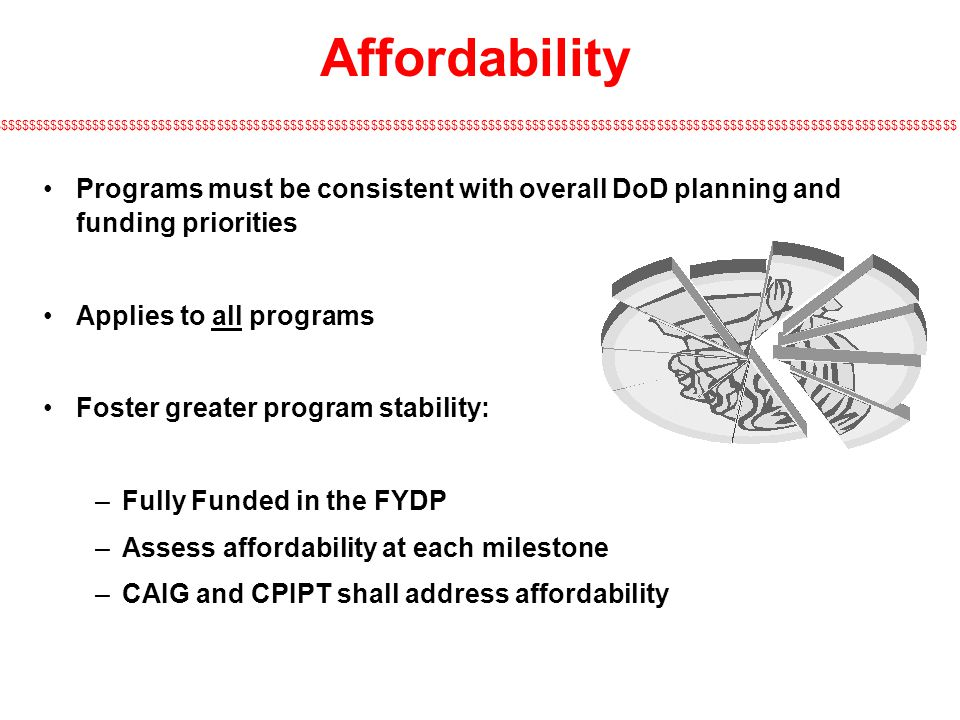 $$$$$$$$$$$$$$$$$$$$$$$$$$$$$$$$$$$$$$$$$$$$$$$$$$$$$$$$$$$$$$$$$$$$$$$$$$$$$$$$$$$$$$$$$$$$$$$$$$$$$$$$$$$$$$$$$$$$$$$$$$$$$$$$$$$$ Affordability Programs must be consistent with overall DoD planning and funding priorities Applies to all programs Foster greater program stability: –Fully Funded in the FYDP –Assess affordability at each milestone –CAIG and CPIPT shall address affordability