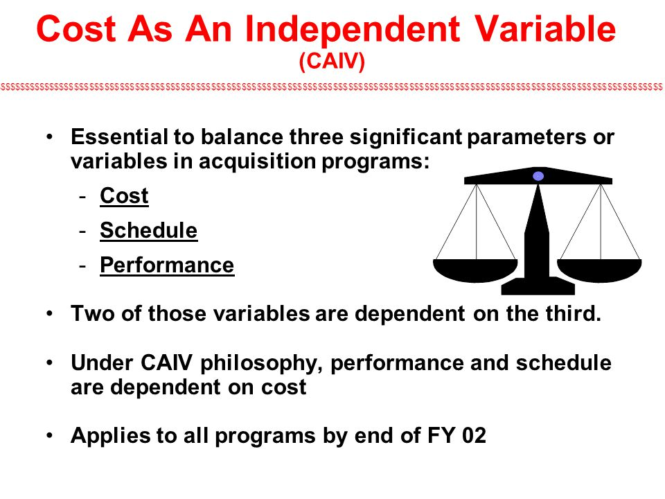 $$$$$$$$$$$$$$$$$$$$$$$$$$$$$$$$$$$$$$$$$$$$$$$$$$$$$$$$$$$$$$$$$$$$$$$$$$$$$$$$$$$$$$$$$$$$$$$$$$$$$$$$$$$$$$$$$$$$$$$$$$$$$$$$$$$$ Essential to balance three significant parameters or variables in acquisition programs: Cost Schedule Performance Two of those variables are dependent on the third.