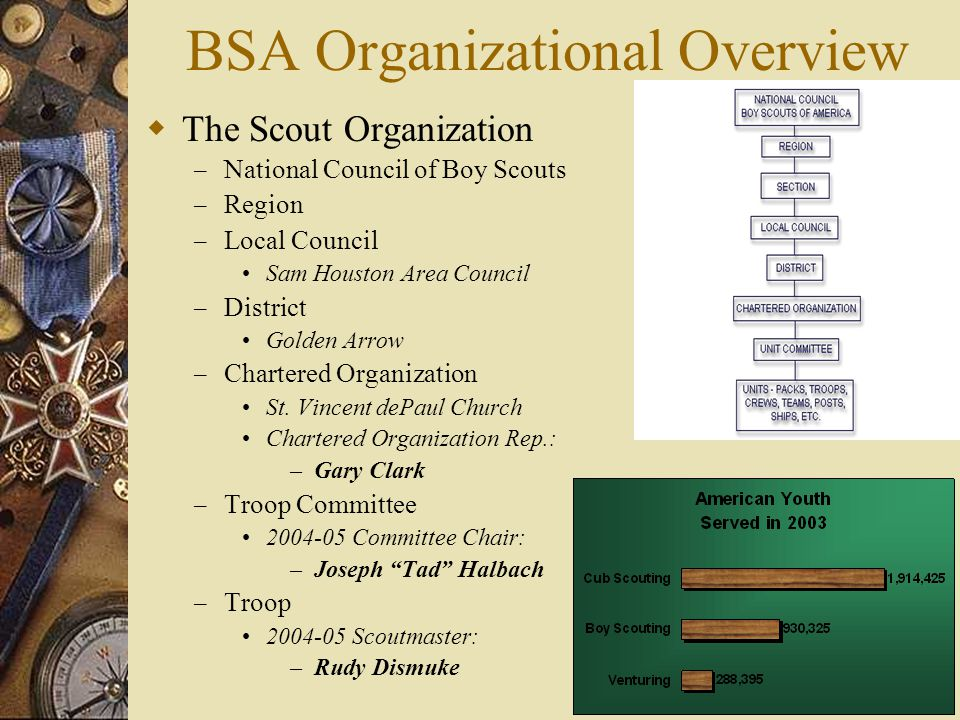 BSA Organizational Overview  The Scout Organization – National Council of Boy Scouts – Region – Local Council Sam Houston Area Council – District Golden Arrow – Chartered Organization St.