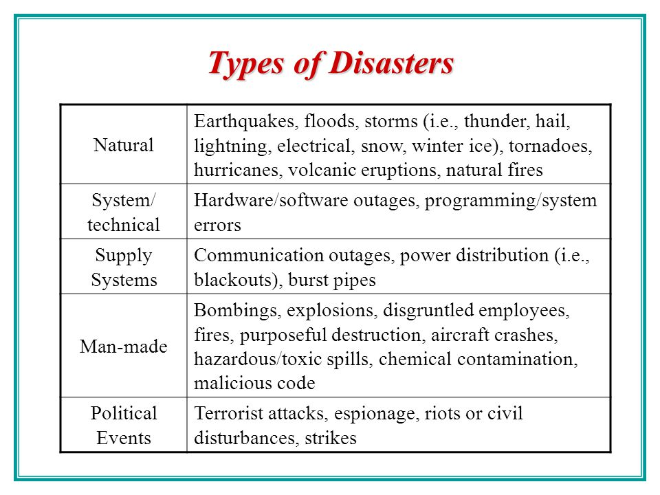 Disasters A disaster is any sudden, unplanned calamitous event that brings about great damage or loss. In the business environment, it is any event cr