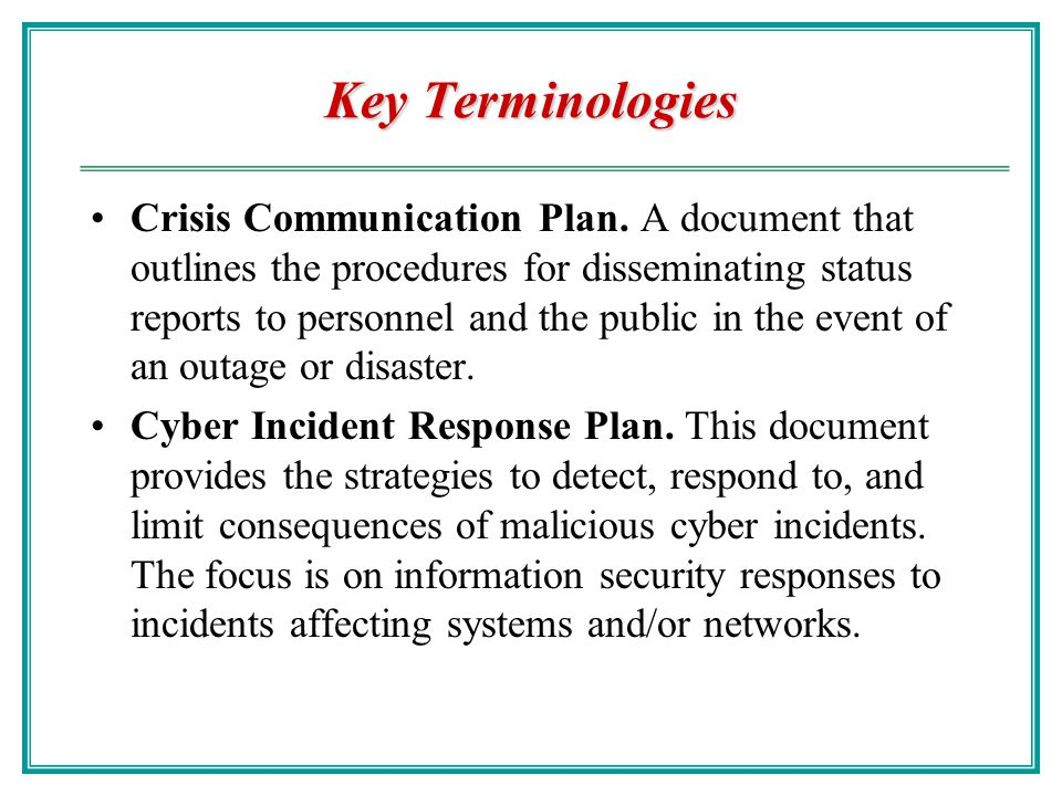 Key Terminologies Business Resumption Planning (BRP). BRP develops procedures to initiate the recovery of business operations immediately following an