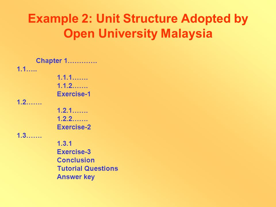 Example 1: Unit Structure Adopted by IGNOU Unit 1……..