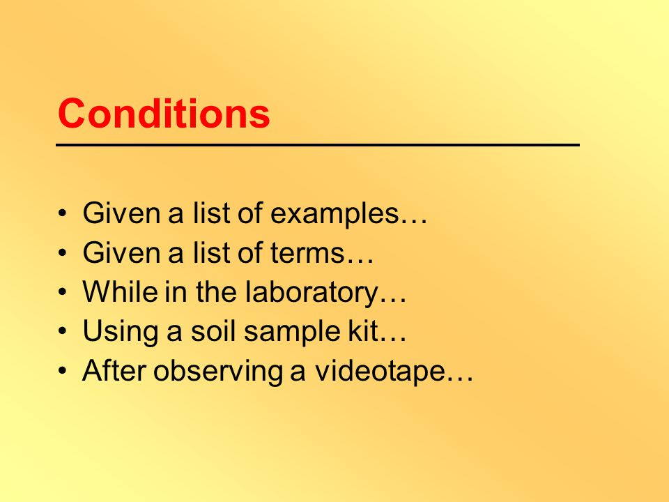 Three Distinguishing Characteristics Condition under which the behaviour will occur Behaviour is described in observable and measurable terms (by usin