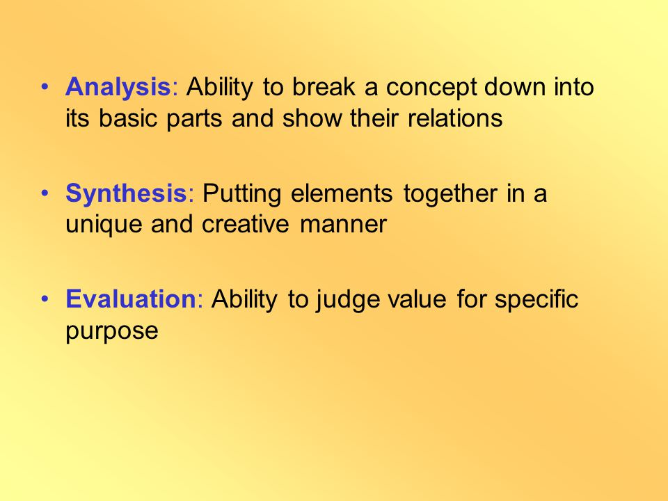 Objectives in Cognitive Domain Knowledge: Retrieving of previous knowledge Comprehension : Translating knowledge into one's own words Application: Abi