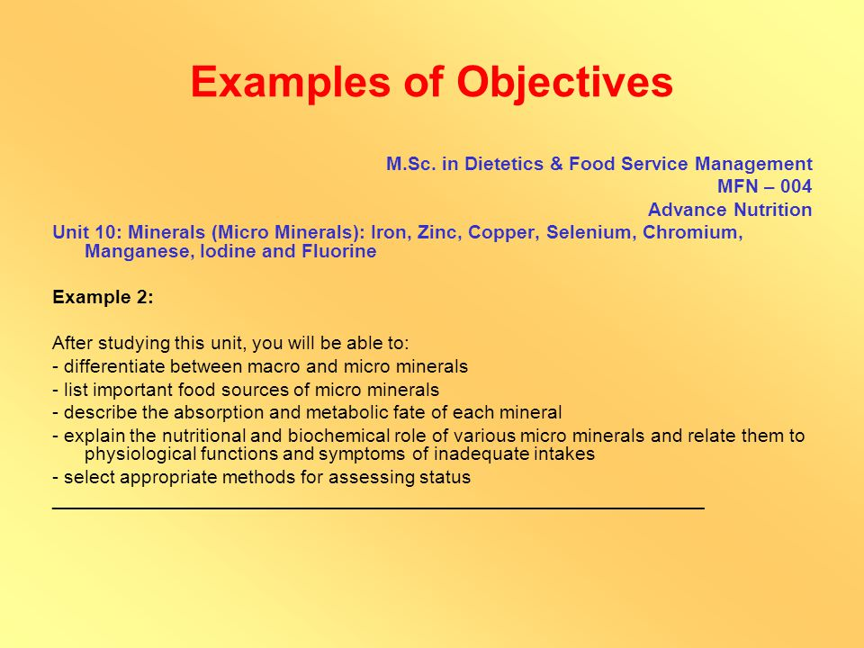 Examples of Objectives P.G.