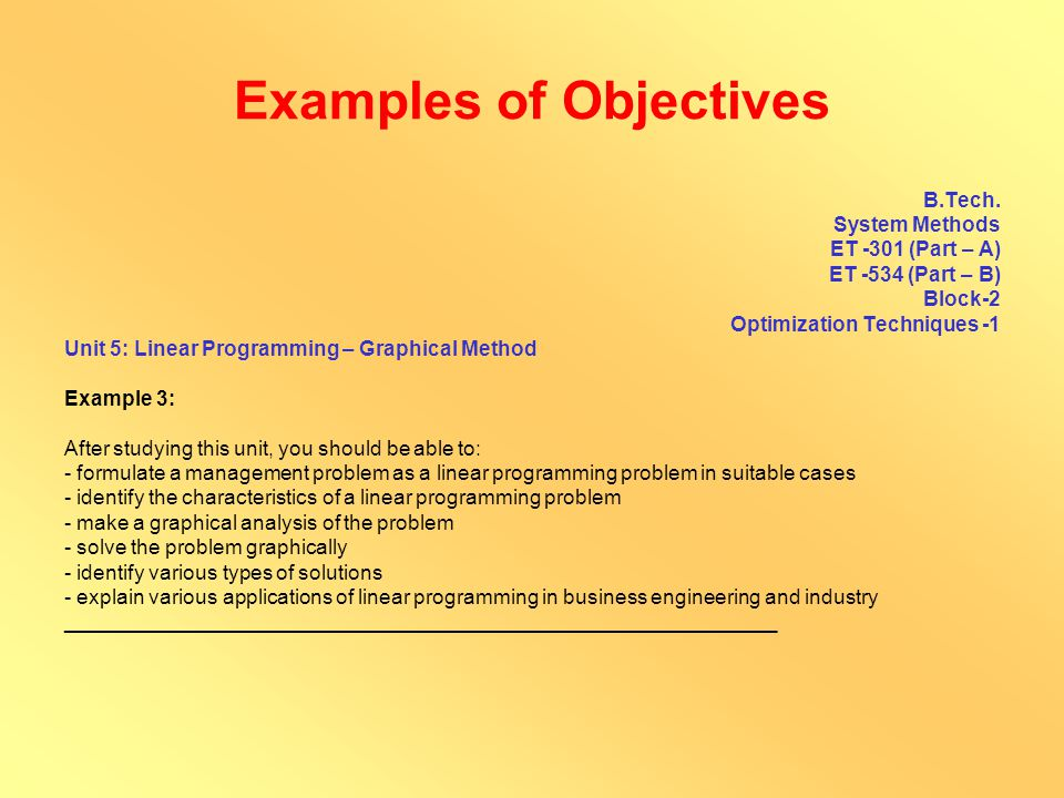Examples of Objectives M.Sc.