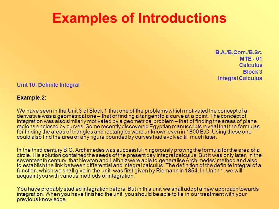 Examples of Introductions M.A.