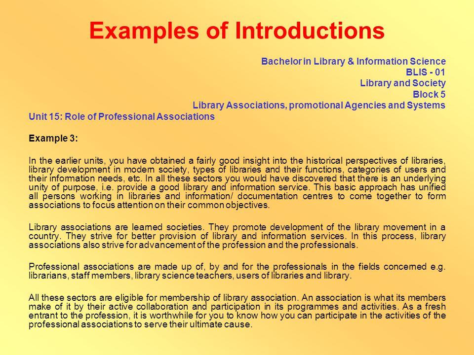 Examples of Introductions B.A./B.Com./B.Sc.