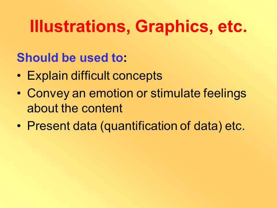 Illustrations, Graphics, etc. Tables Figures Charts Pictures Diagrams Patterned Text