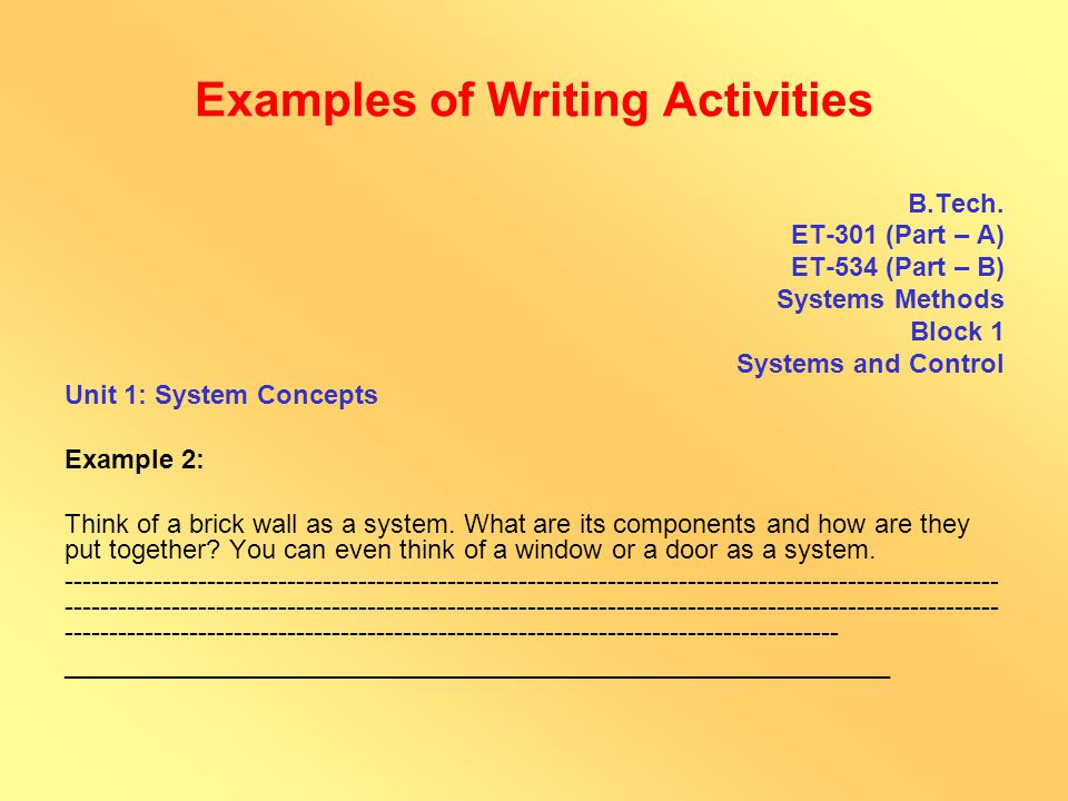 Examples of Writing Activities B.Sc.