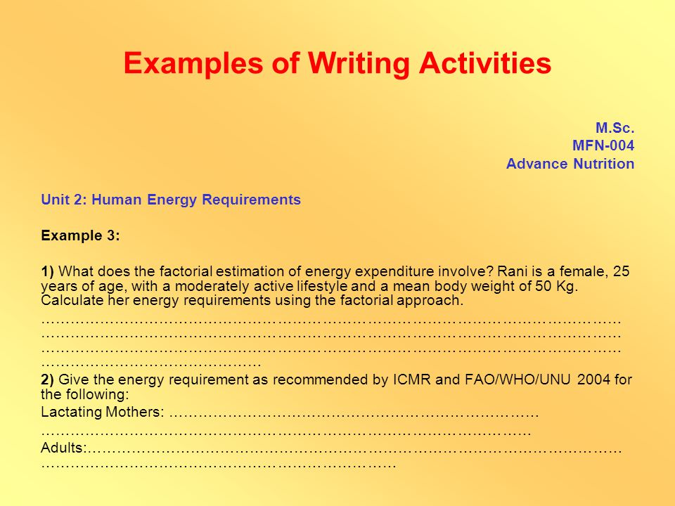 Examples of Writing Activities B.Tech.