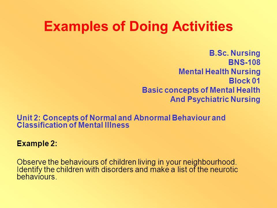 Examples of Doing Activities B.A./B.Com./B.Sc.
