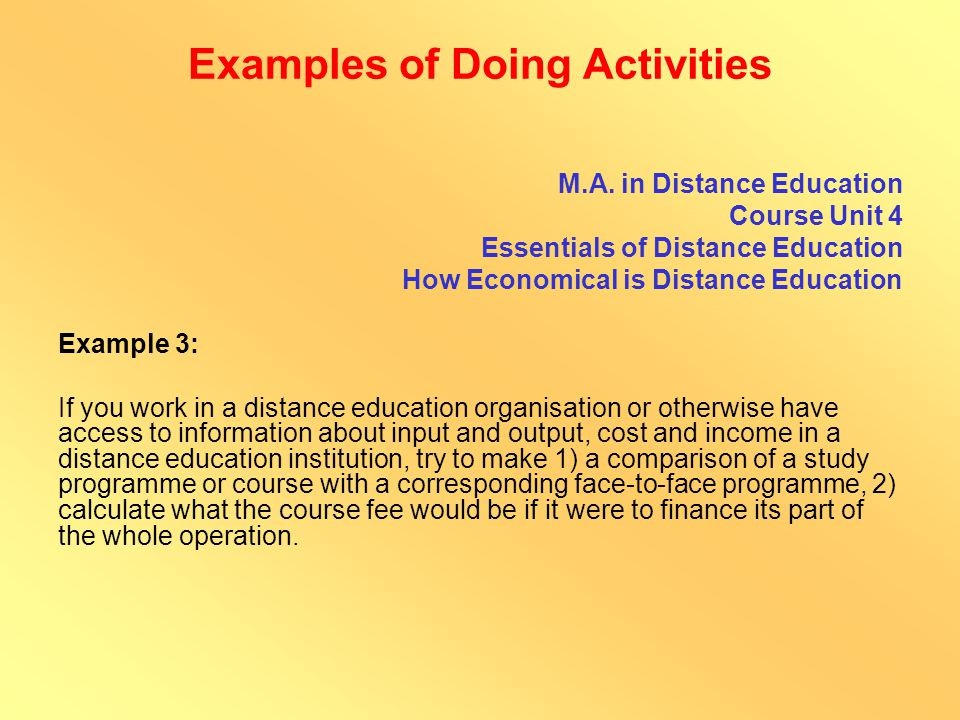 Examples of Doing Activities B.Sc.