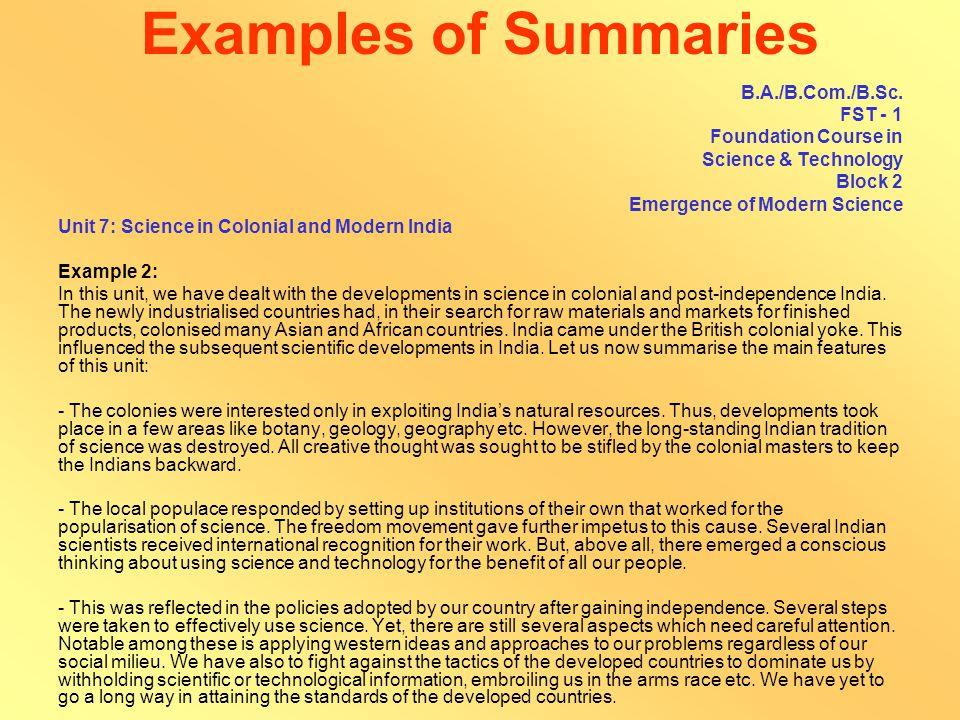 Examples of Summaries B.Sc.