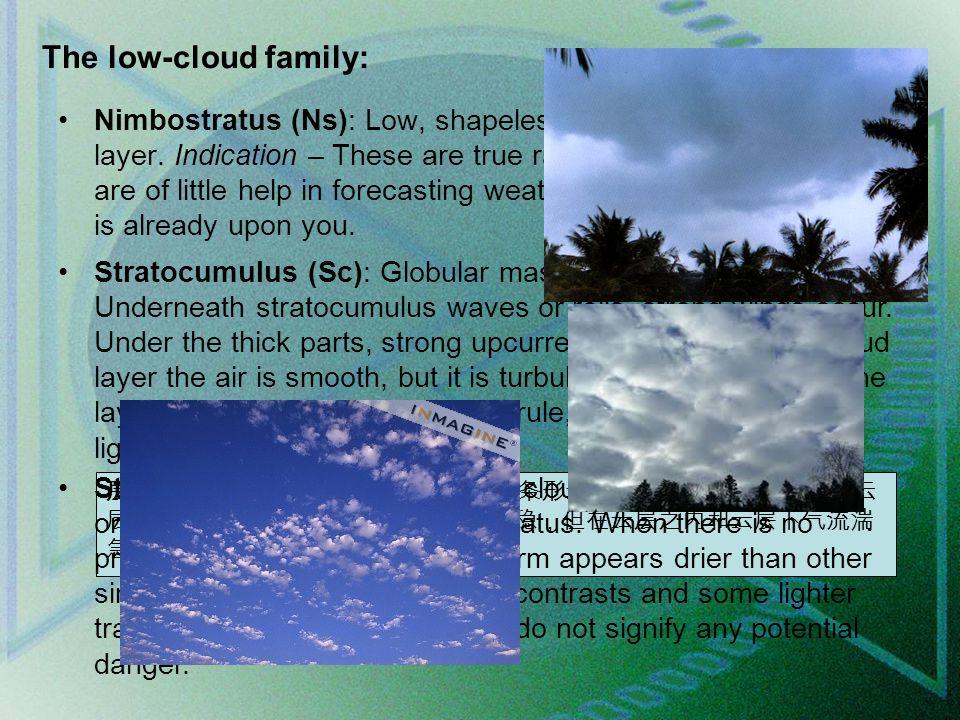 The low-cloud family: Nimbostratus (Ns): Low, shapeless, dark gray, rainy cloud layer.