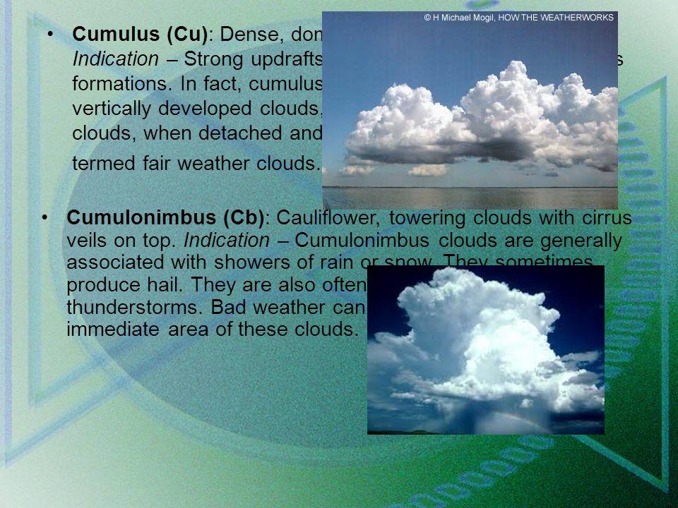 Cumulus (Cu): Dense, dome-shaped, puffy-looking clouds.