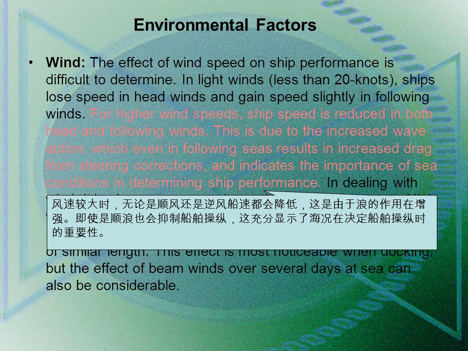 Environmental Factors Wind: The effect of wind speed on ship performance is difficult to determine.