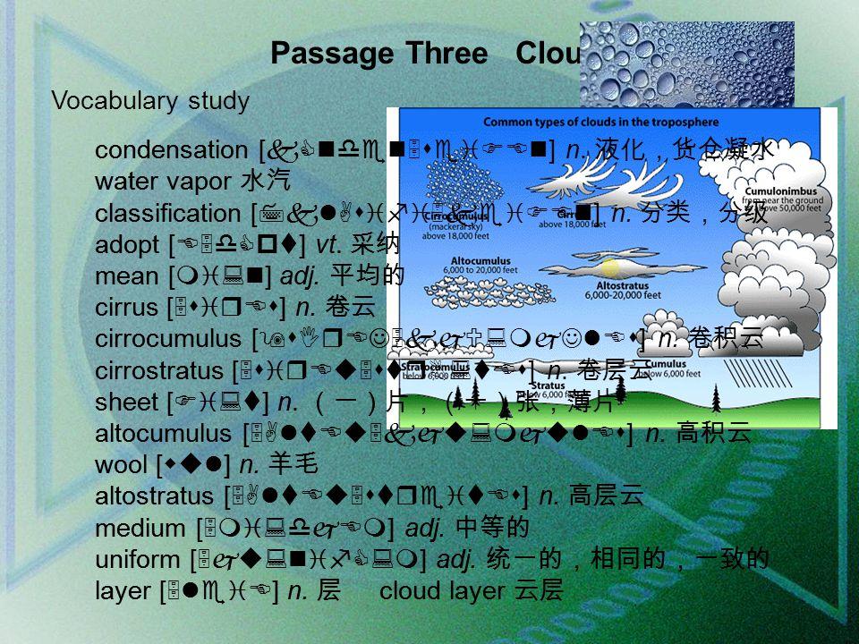 Passage Three Clouds Vocabulary study condensation [kCnden5seiFEn] n.