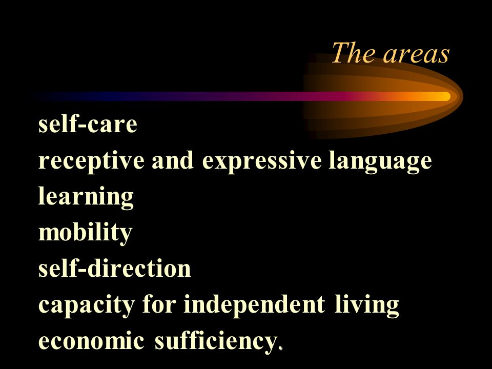 The areas self-care receptive and expressive language learning mobility self-direction capacity for independent living.